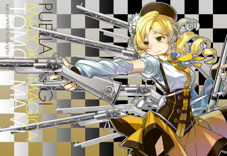 guns dress yellow eyes Mahou Shoujo Madoka Magica Tomoe Mami anime anime girls mahou shoujo wallpaper