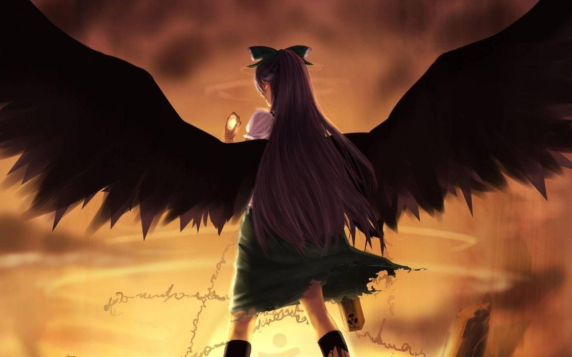 video games Touhou wings purple hair Reiuji Utsuho wallpaper