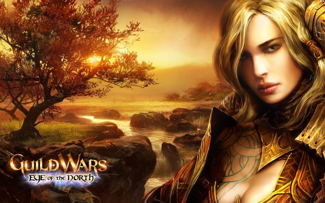 blondes women sunset video games trees cleavage Guild Wars waterfalls Guild Wars Eye of the North Jora (Guild Wars) wallpaper