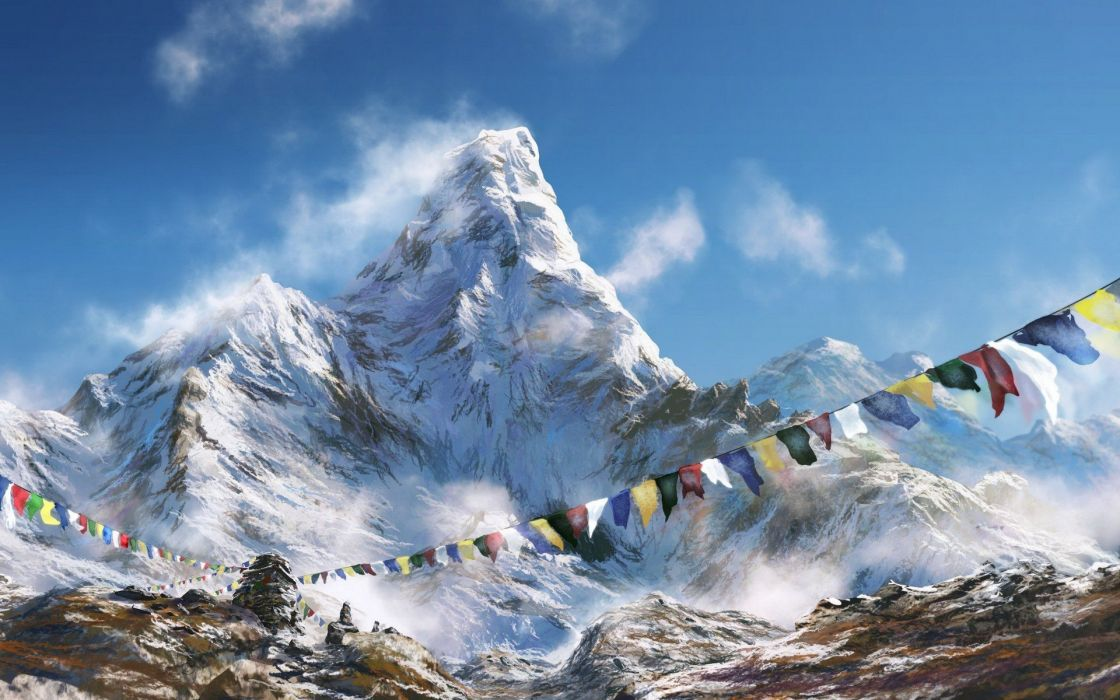paintings mountains snow wallpaper