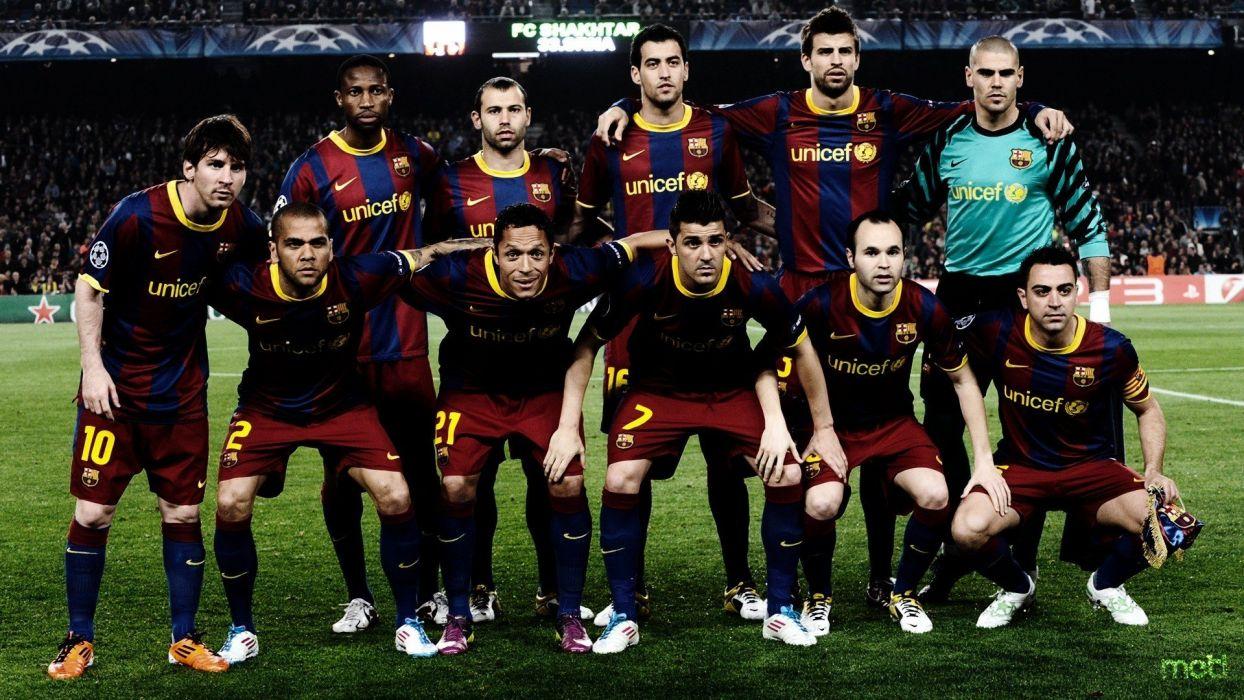sports soccer Lionel Messi FC Barcelona Pique Daniel Alves David Villa Xavi Hernandez Victor Valdes AndrAIA wallpaper