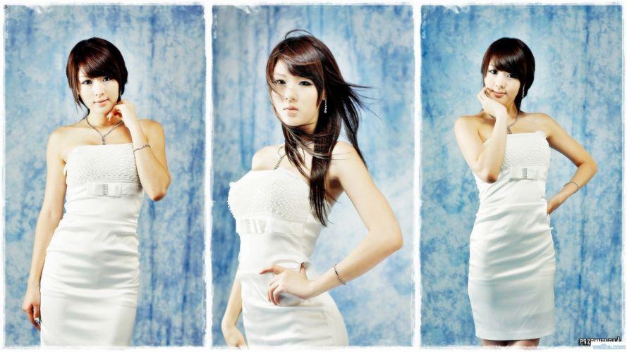 women models Hwang Mi Hee short hair Asians Korean collage white dress hands on hips bangs wallpaper