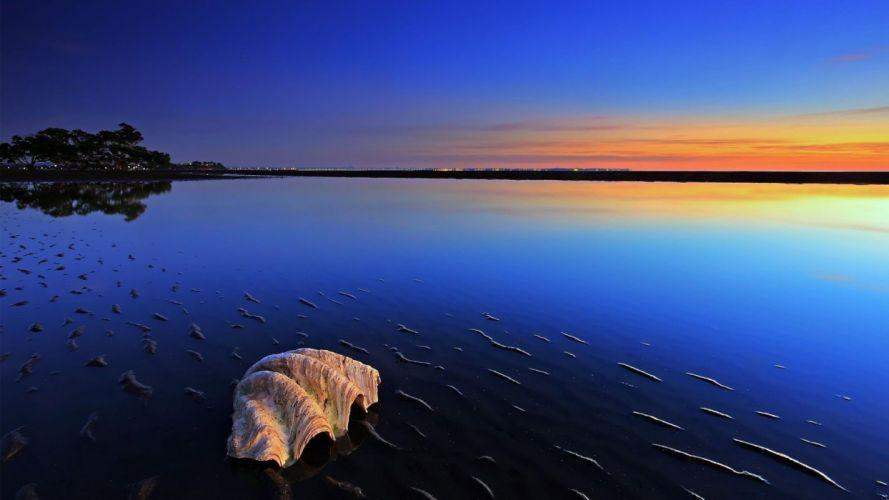 sunset lights evening Seascape sea wallpaper