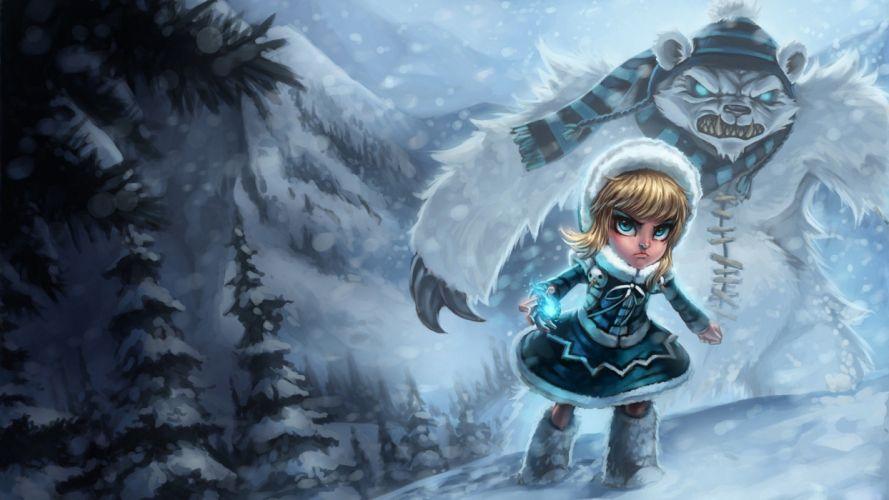 video games blue League of Legends fantasy art Tibbers Annie the Dark Child wallpaper