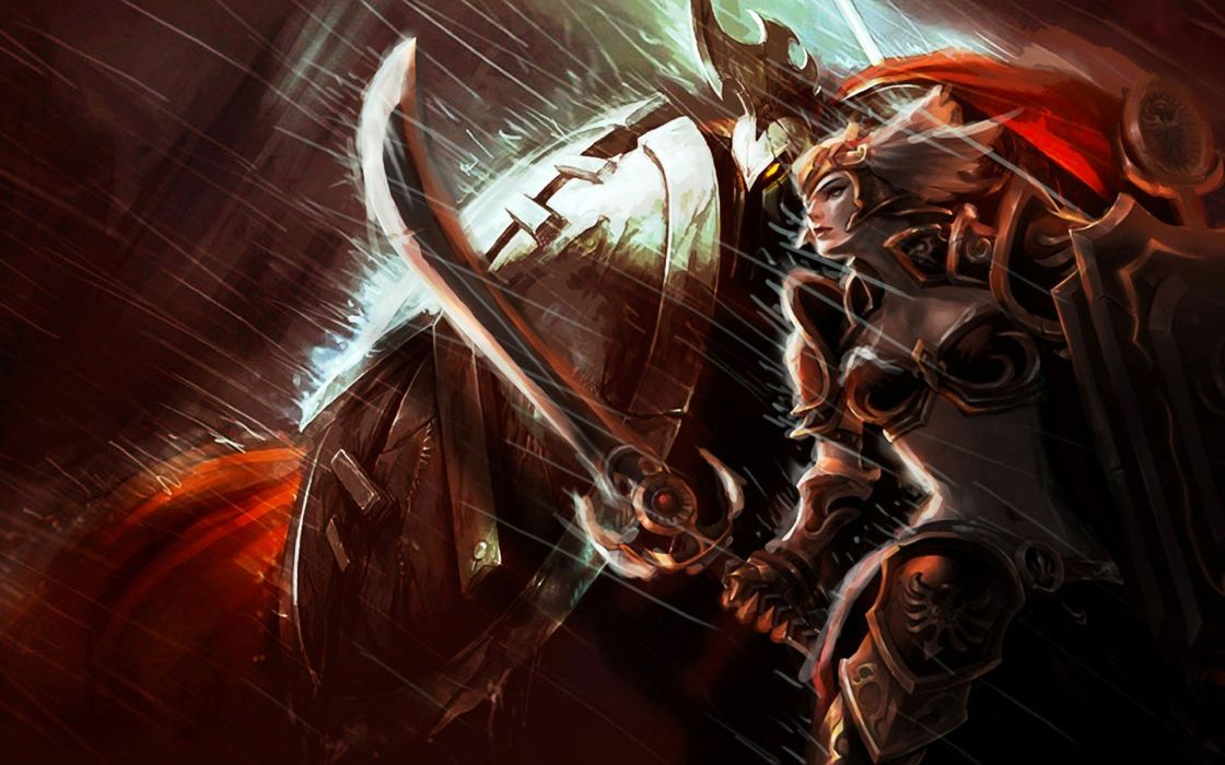 video games League of Legends valkyrie blade armor Pantheon Leona S_H_I_E_L_D_ Leona the Radiant Dawn wallpaper