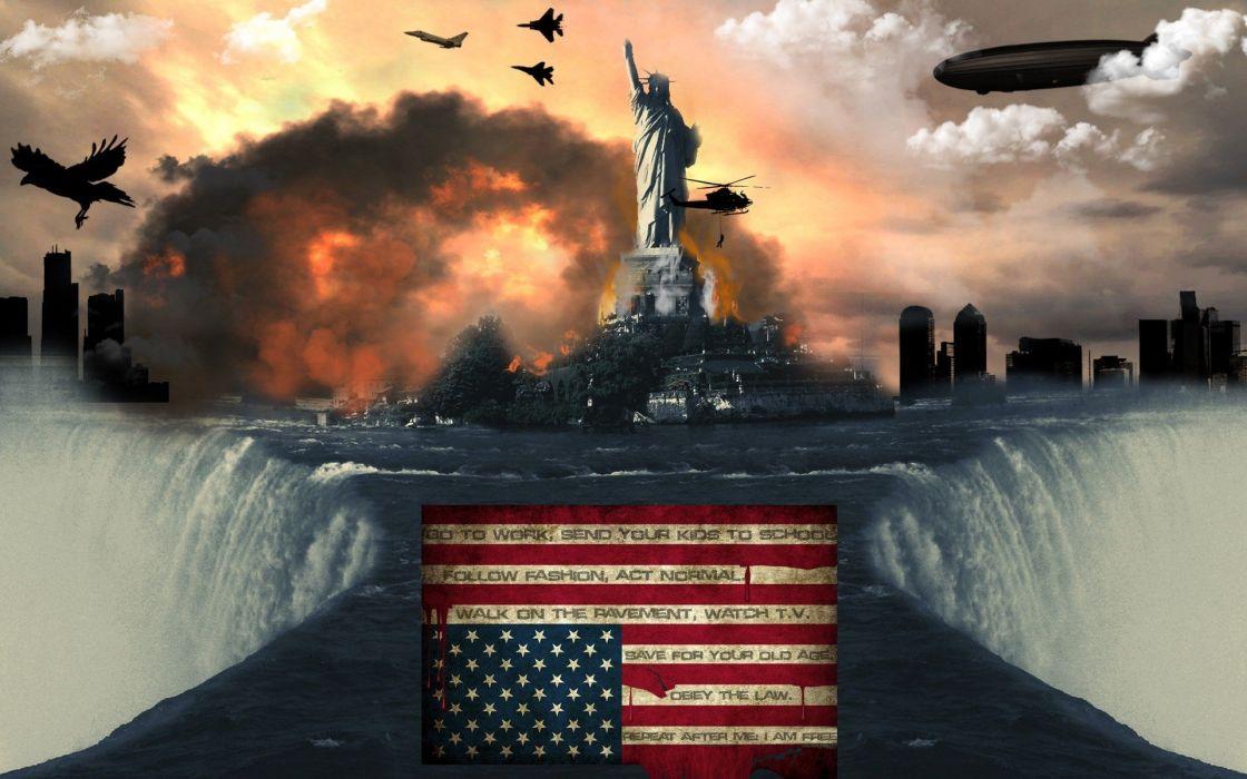 illuminati New World Order American Flag wallpaper