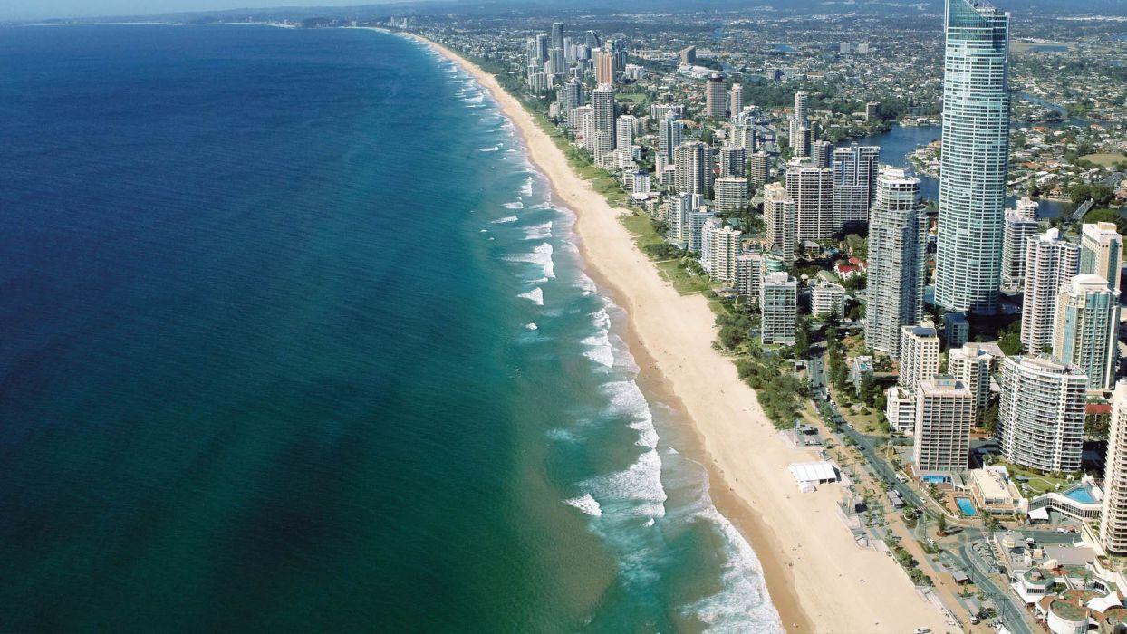 water ocean landscapes sand cityscapes buildings Australia Emerald wallpaper