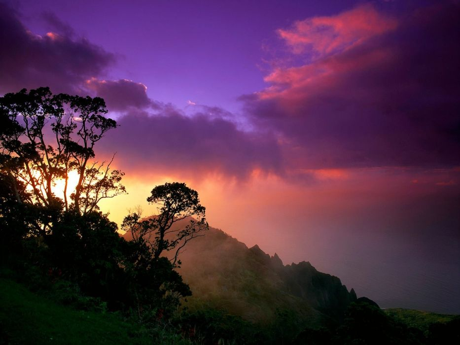 sunset mountains clouds landscapes forests wallpaper