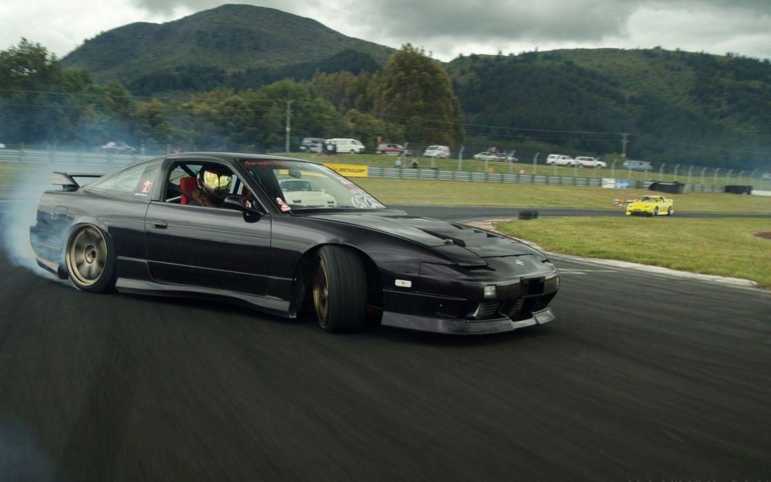 drifting cars Nissan Nissan 180SX wallpaper