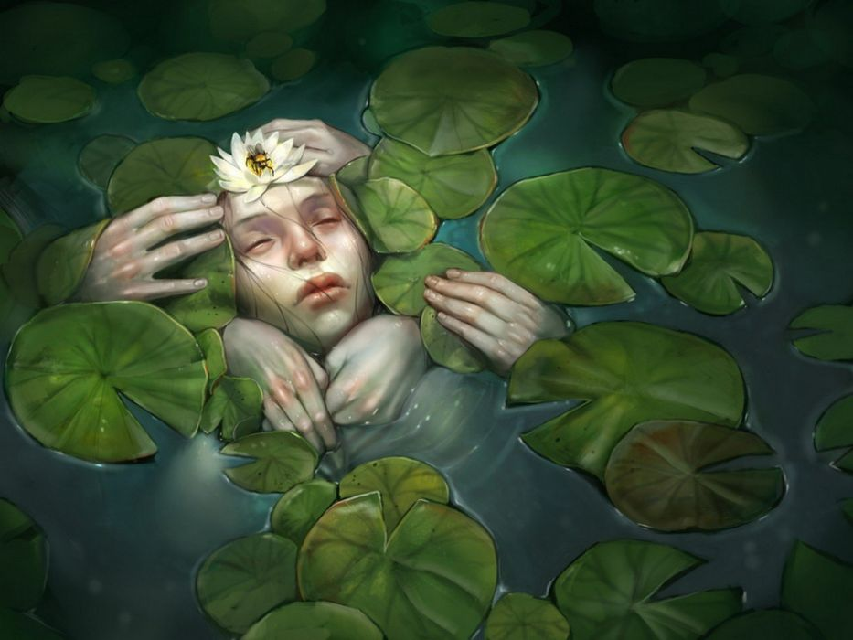 women water fantasy art artwork closed eyes lily pads water lilies wallpaper