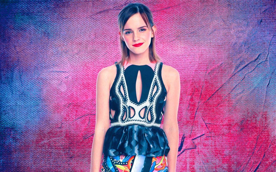 brunettes women Emma Watson dress smiling wallpaper