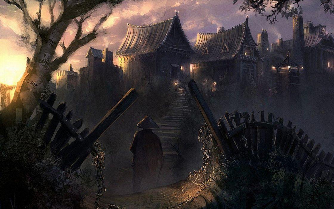 houses fantasy art artwork villages wallpaper