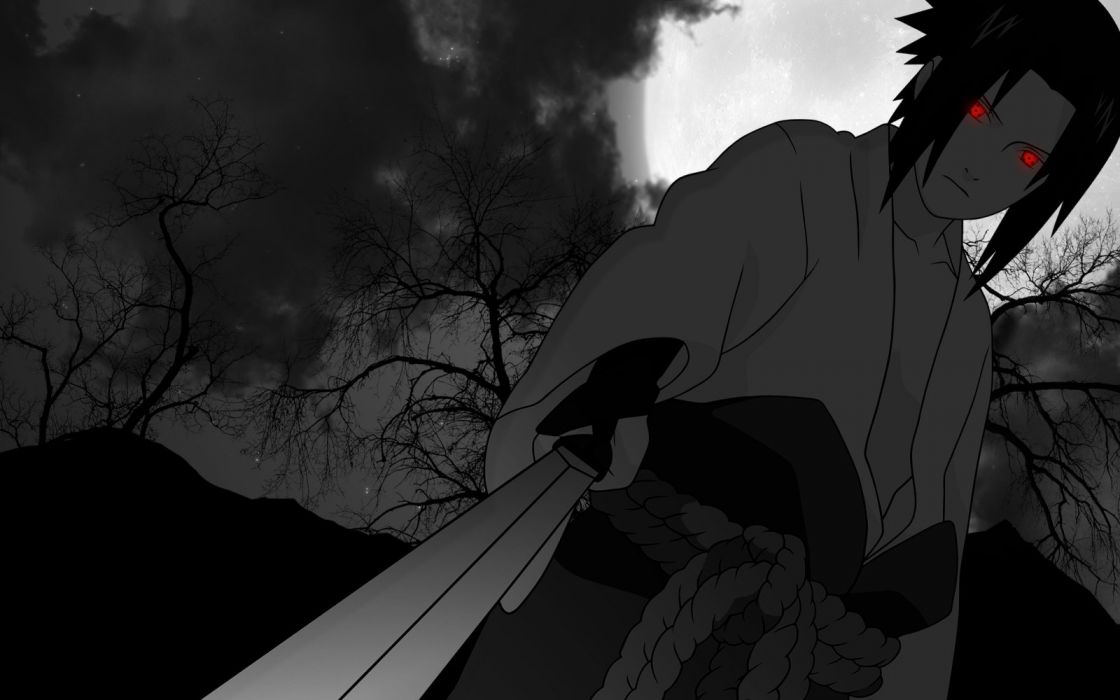 Uchiha Sasuke Naruto: Shippuden Sharingan selective coloring wallpaper