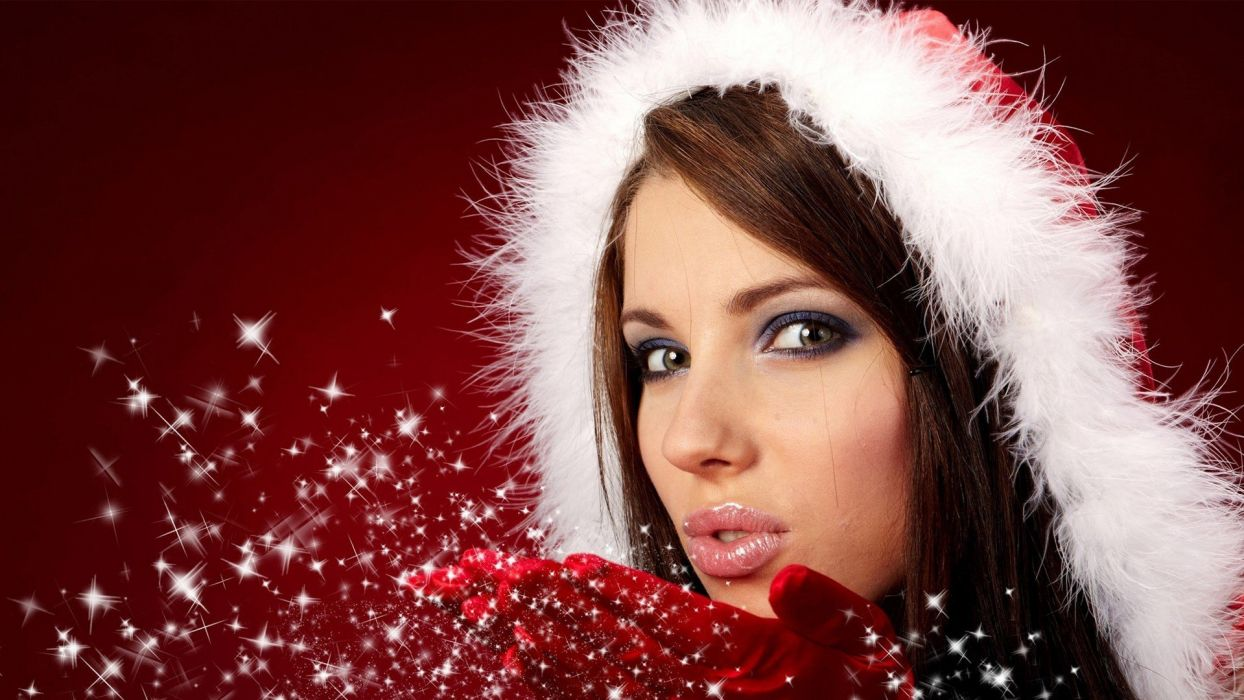 women New Year faces wallpaper