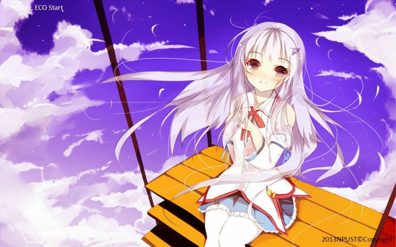 clouds long hair pantyhose anime girls Senya Fuurin (Artist) wallpaper