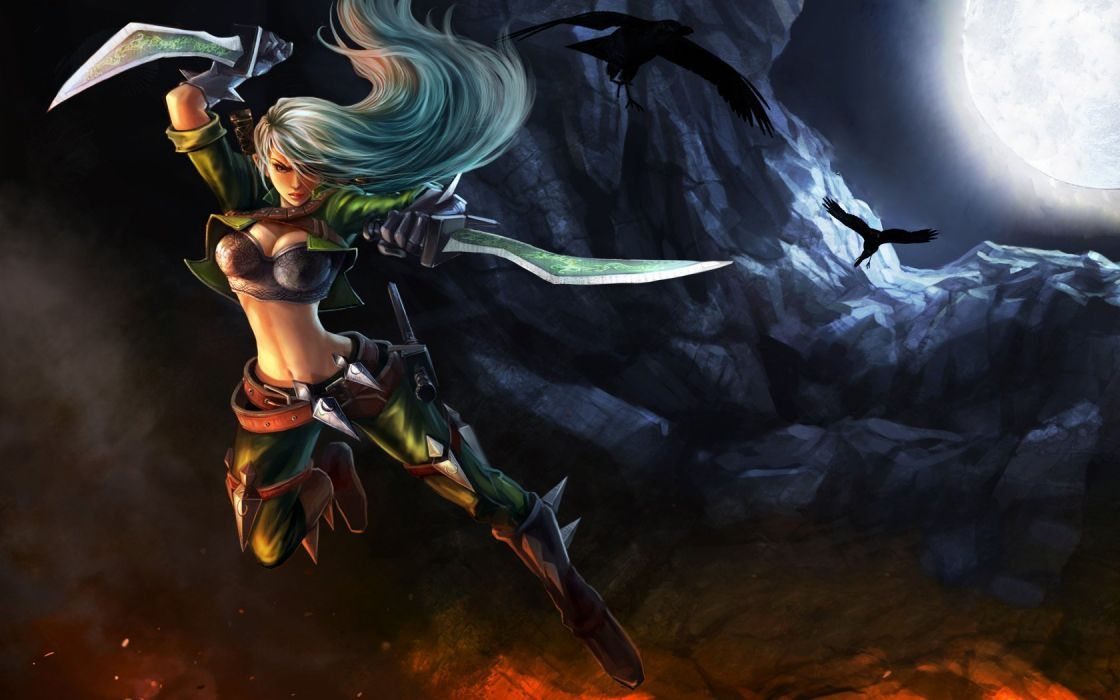 fantasy League of Legends weapons artwork Katarina the Sinister Blade daggers Riot Games wallpaper
