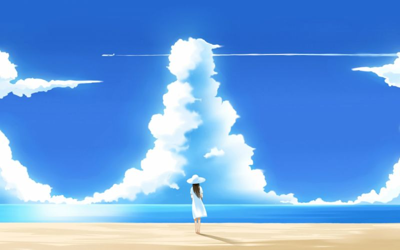 clouds anime skyscapes anime girls beaches wallpaper