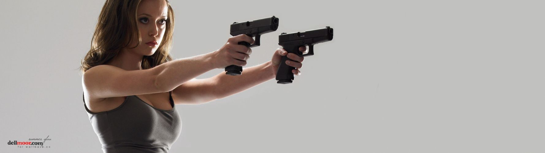 women pistols guns Summer Glau glock Terminator The Sarah Connor Chronicles multiscreen wallpaper