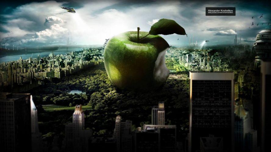 iMac design apples cities Alexander Koshelkov wallpaper