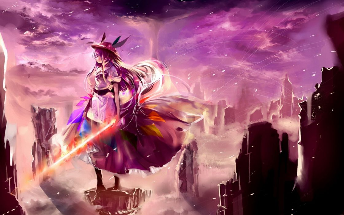 video games clouds landscapes Touhou dress purple peaches rocks long hair fog weapons purple hair red eyes scenic aprons Hinanawi Tenshi skyscapes hats Sword of Hisou swords wallpaper