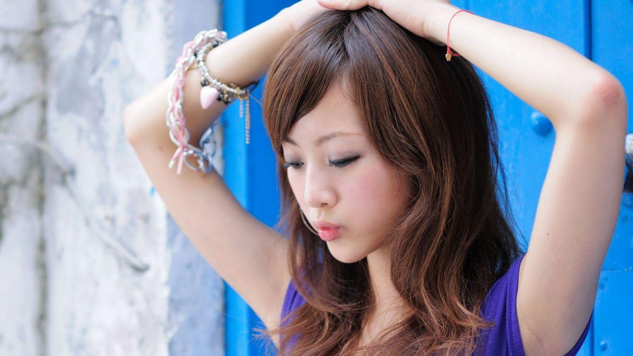 brunettes women Japan Japanese Asians Asia Mikako Zhang Kaijie wallpaper