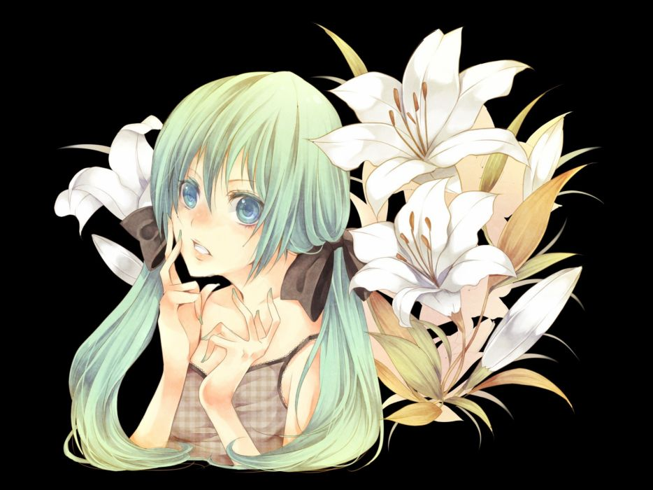 Vocaloid flowers Hatsune Miku transparent anime girls wallpaper