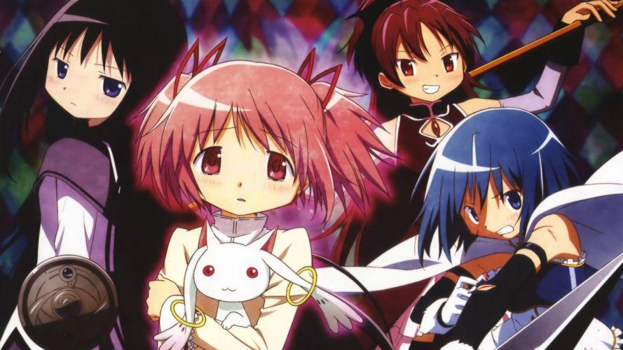 Mahou Shoujo Madoka Magica Miki Sayaka Sakura Kyouko Kaname Madoka anime Akemi Homura anime girls Kyubey wallpaper