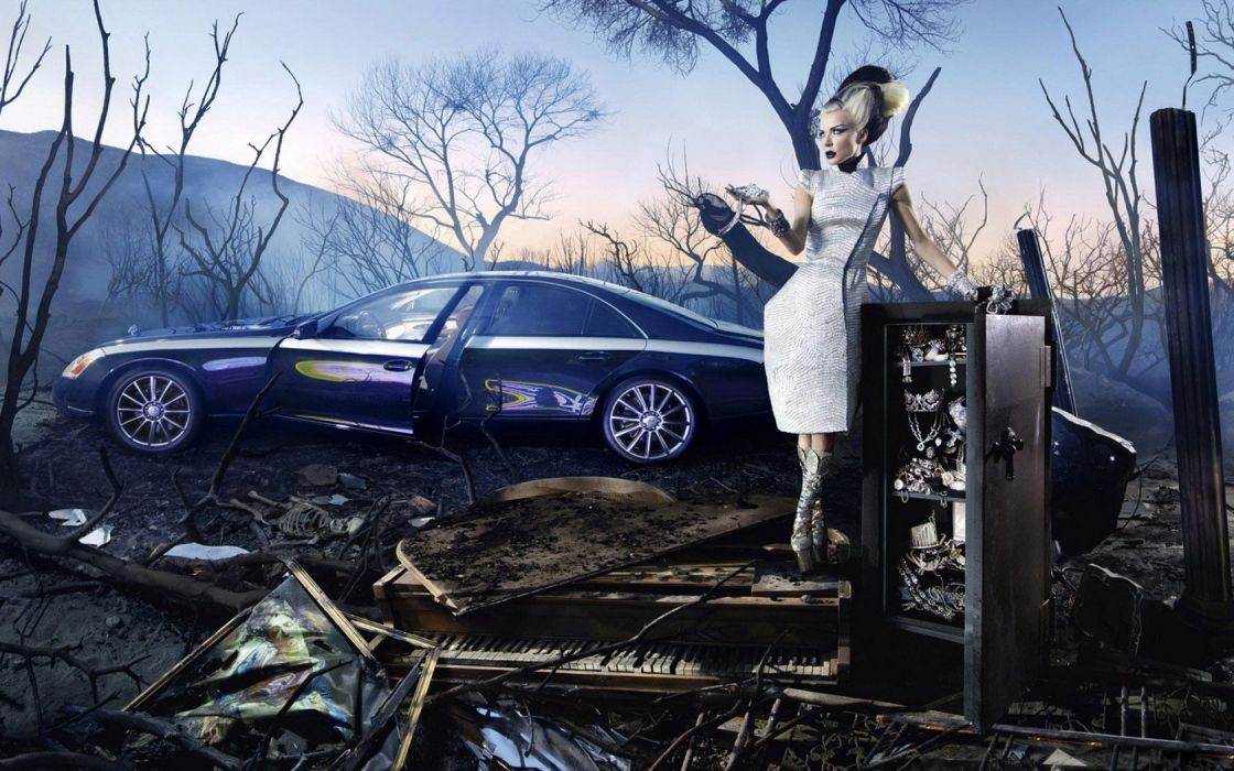 women fantasy art artwork Maybach digtal art auto wallpaper