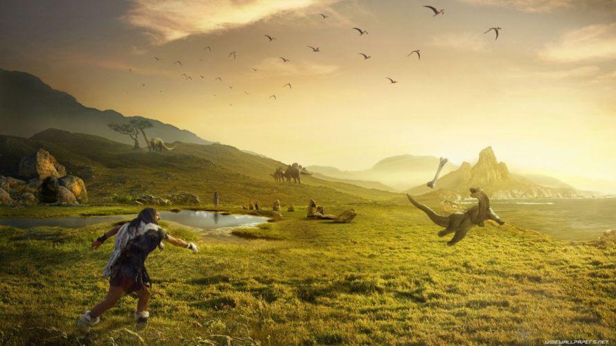 landscapes dinosaurs wallpaper
