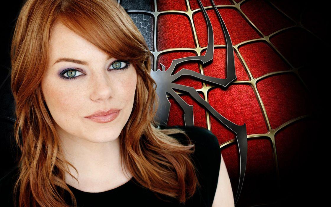 Spider-Man redheads Emma Stone green eyes The Amazing Spider-man wallpaper