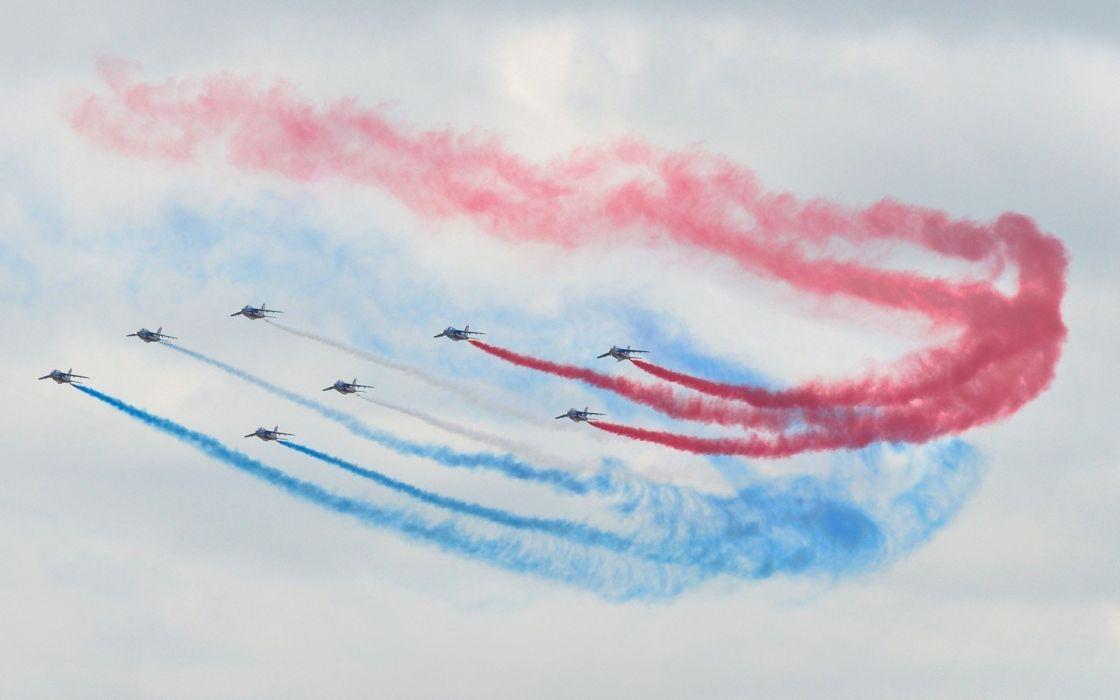 aircraft contrails aviation air force air patrouille de france wallpaper