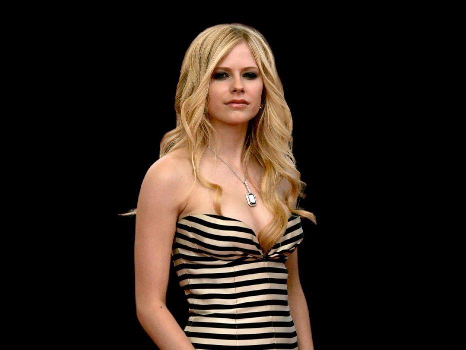 blondes women Avril Lavigne black background wallpaper
