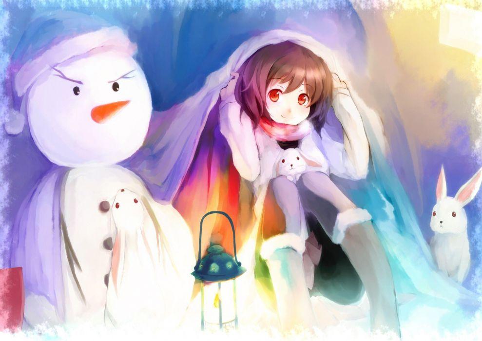 bunnies snow animals snowman wallpaper