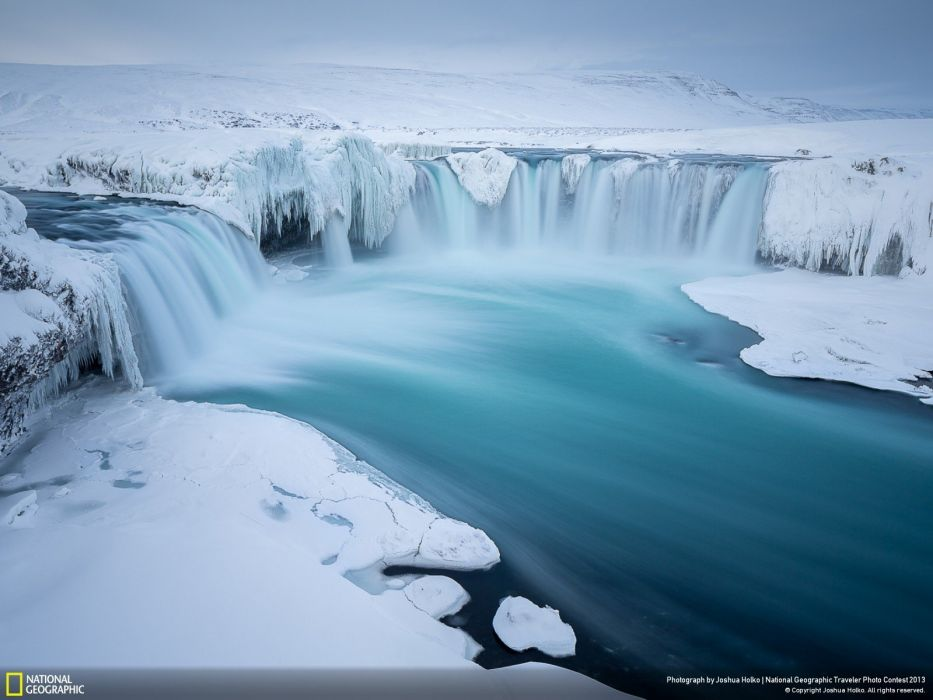 ice landscapes nature National Geographic Iceland snow landscapes waterfalls wallpaper