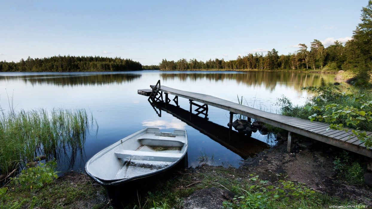 landscapes nature boats lakes wallpaper