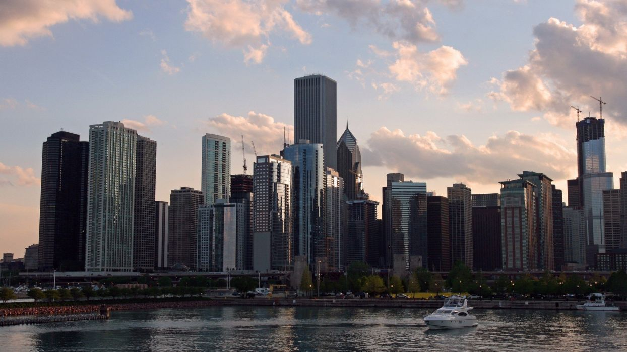 cityscapes Chicago bridges towns skyscrapers city skyline wallpaper