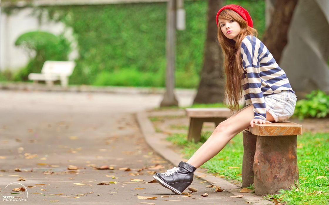 women long hair Asians wool hats denim shorts striped clothing wallpaper