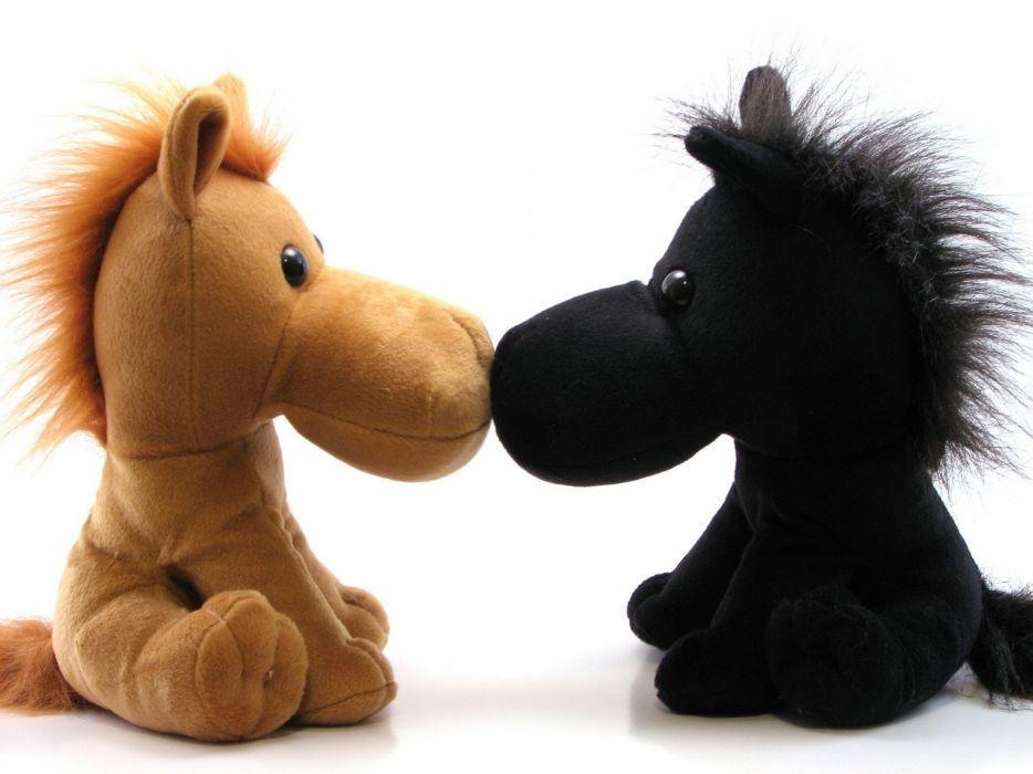 black and white kissing toys (children) horses wallpaper