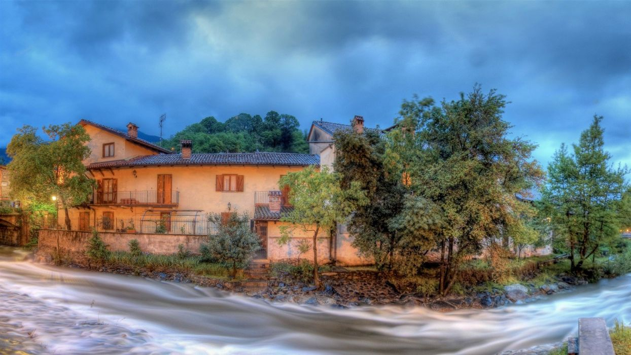landscapes nature The Village rivers panoramic natural scenery wallpaper