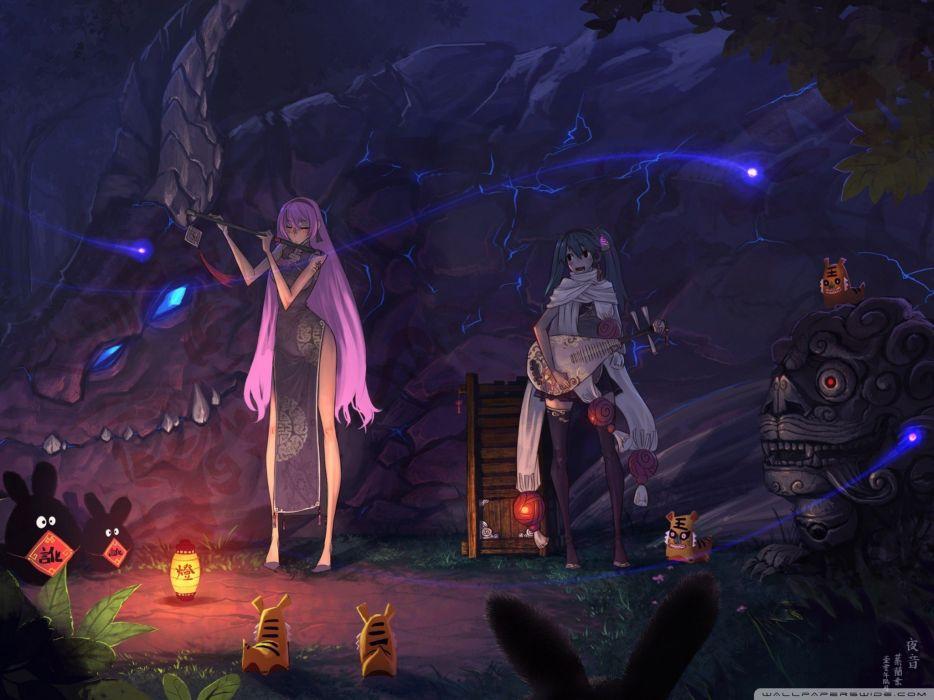 dragons Vocaloid night lights Hatsune Miku animals Megurine Luka guitars flute scarfs anime girls wallpaper