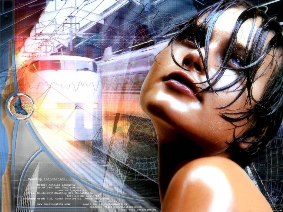 brunettes women abstract blue eyes wet trains lips train stations Natalia Semanova wallpaper
