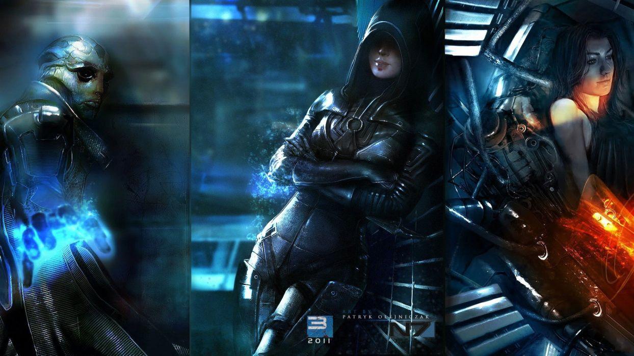cartoons video games Miranda Lawson Mass Effect 2 artwork Mass Effect 3 Kasumi Goto wallpaper