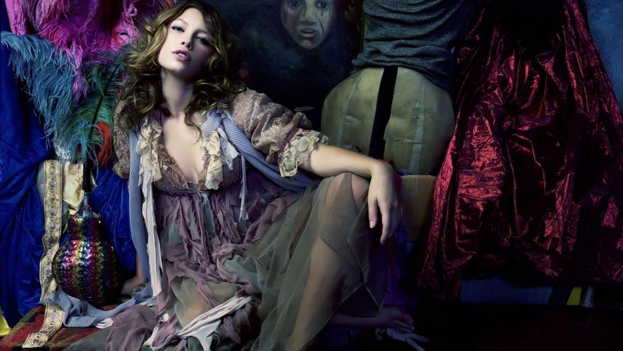 brunettes women models Jessica Biel celebrity wallpaper