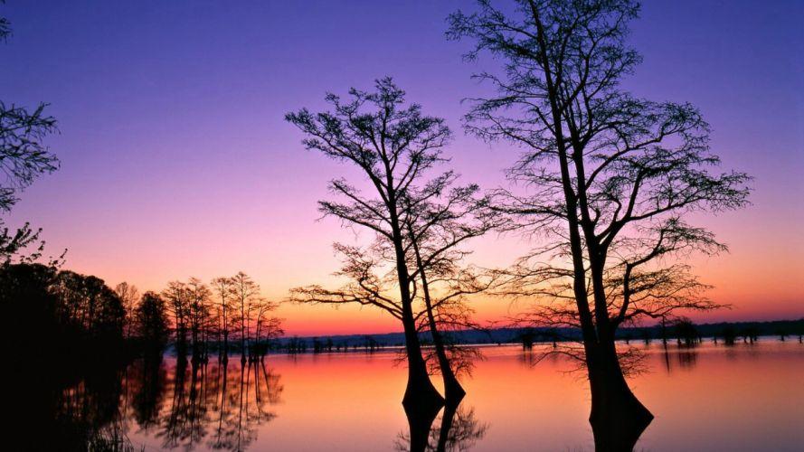 water sunset landscapes nature trees dusk wallpaper