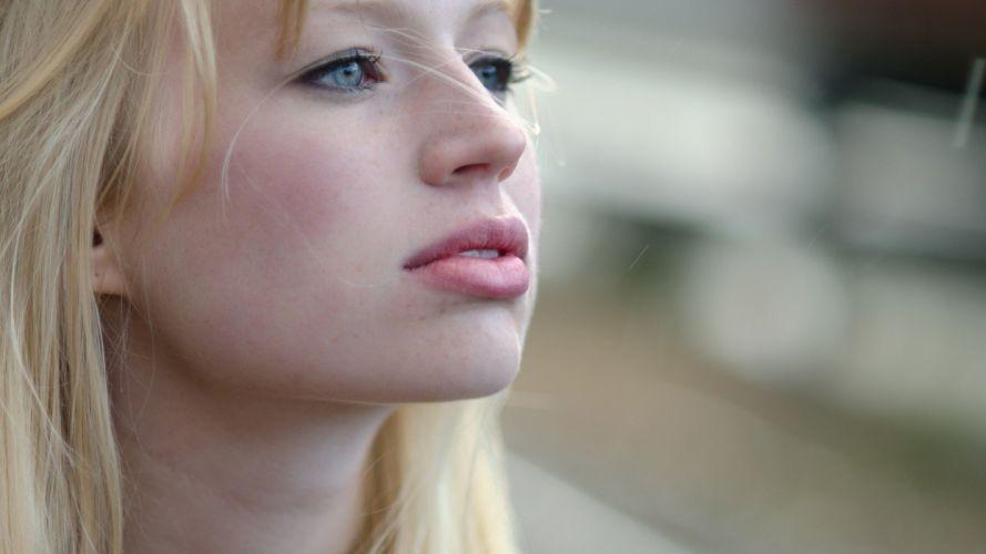 blondes women close-up blue eyes faces wallpaper