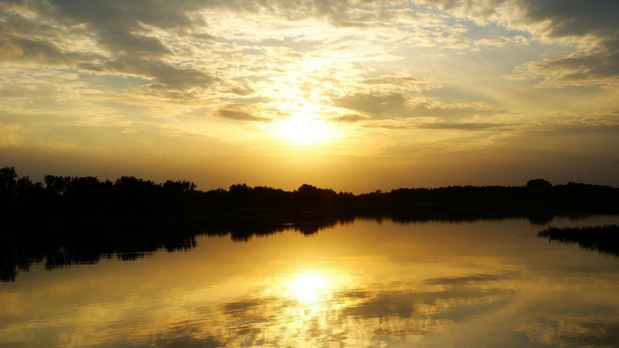 sunset clouds landscapes nature Sun skylines grass fields lakes rivers wallpaper
