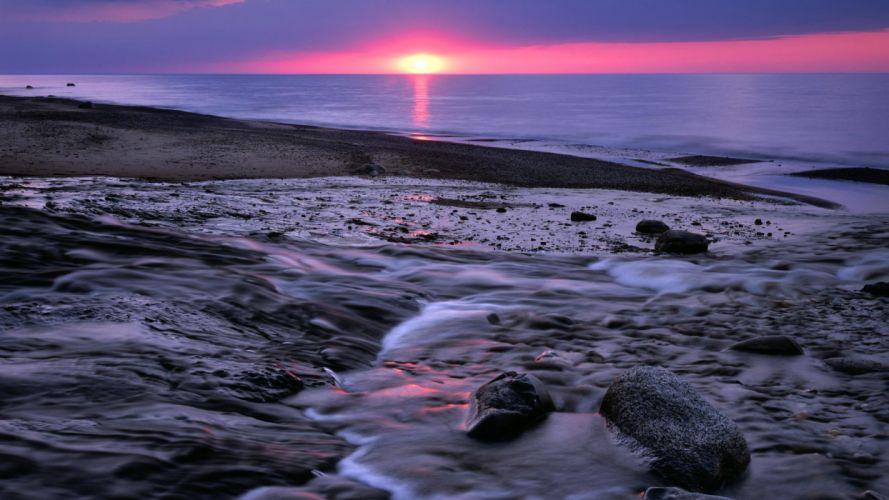 light sunset landscapes nature rocks national Michigan Lake Superior wallpaper
