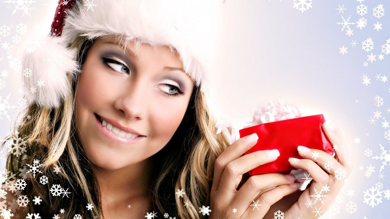 women presents snowflakes wallpaper