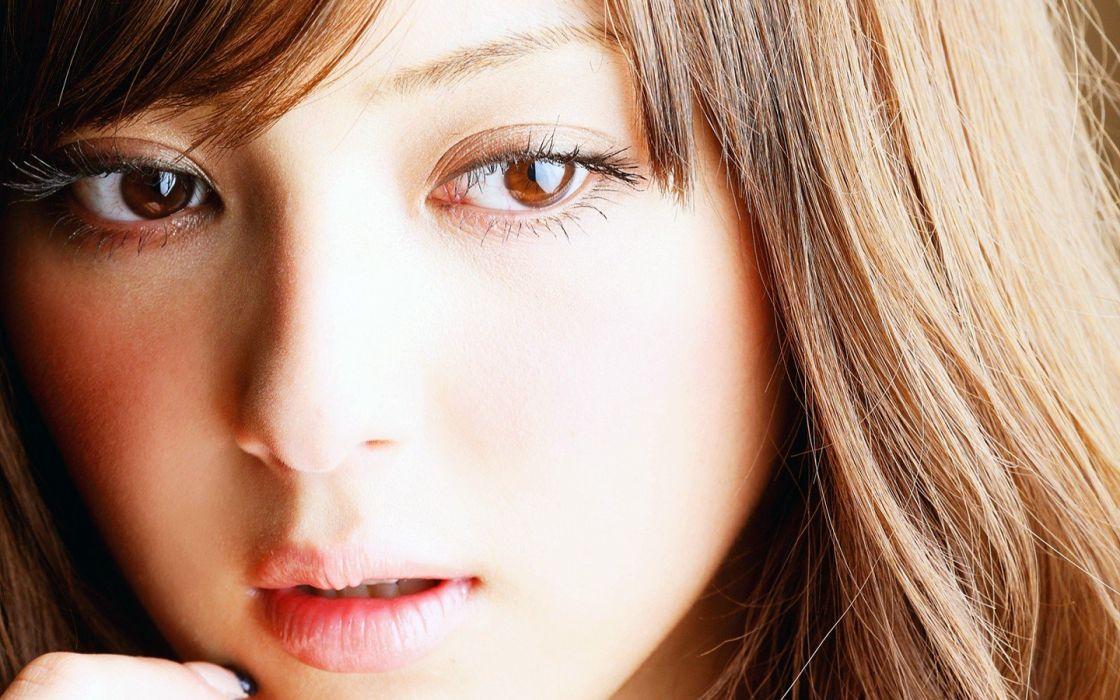 women close-up Asians Nozomi Sasaki faces supermodels models asian girls wallpaper