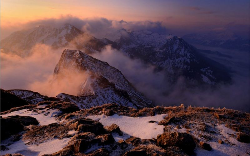 mountains clouds landscapes winter wallpaper